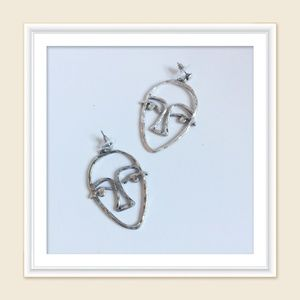 Abstract face earring